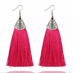 Boho Fringe Earrings Fuchsia Tassel